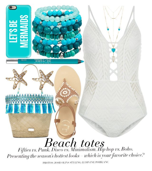 """BEACH TOTES"" by noraaaaaaaaa ❤ liked on Polyvore featuring Caffé, Casetify, Annoushka, New Look, H&M, House of Harlow 1960, Jack Rogers, Urban Decay, Jennifer Meyer Jewelry and Summer"