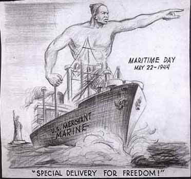 Special Delivery for Freedom. National Maritime Day, May 22, 1944  Artist: Charles Alston