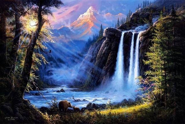 Hd Prints Original Oil Paintings Canvas Jesse Barnes Landscape Art River Waterfall Bears Woods 24x36 Pintura Paisajistica Pinturas En Acuarela Paisajes Paisajes Con Cascadas