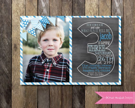 PRINTABLE Chalkboard Third Birthday Invitation with Picture - 3rd Birthday Invitation -  Girls Boys Birthday Party 4x6 or 5x7 on Etsy, $13.00