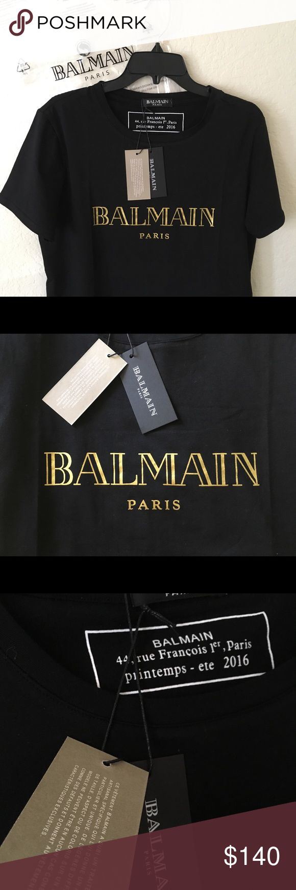 New Balmain Gold Logo Shirt Brand new, sealed in bag !  Hey guys, this listing is a bit different ! I am listing for a store called Venice Apparel Goods, which is located in California and gets exclusive brands! They only have a few of these in stock!   - Medium and Large available  - Comes with Balmain Bag & Official Tags - Firs true to size, just a tad loose - same day shipping   Feel free to ask any questions! Balmain Tops Tees - Short Sleeve