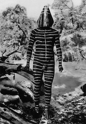 Selk'nam bodypainting (Ulen wind spirit).  (Scanned from postcard) The Selk'nam or Ona people, and related tribes, were indigenous to inland Tierra del Fuego (and southern mainland Patagonia). They were wiped out soon after the arrival of white missionaries & ranchers, mainly through disease but many were also hunted/murdered by ranchers whose sheep they stole.