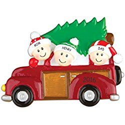 Personalized Family Tree Christmas Ornament (Family of 3)