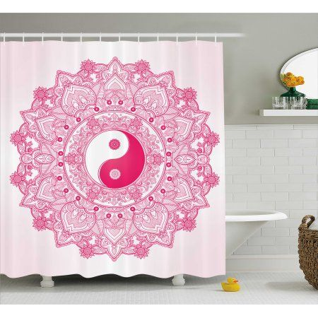 Ying Yang Decor Shower Curtain Traditional Mystical With Tao Mandala Pattern Floral Ethnic Asian Decorations Fabric Bathroom Set Hooks