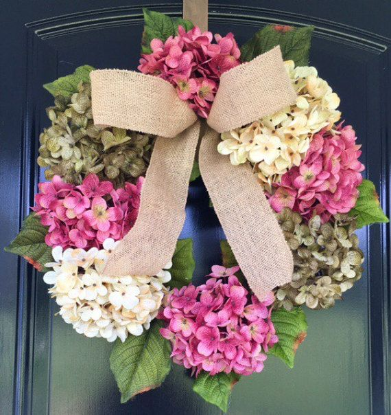 Hydrangea Wreath  Spring Wreath  Burlap Wreath  by GraceMonroeHome
