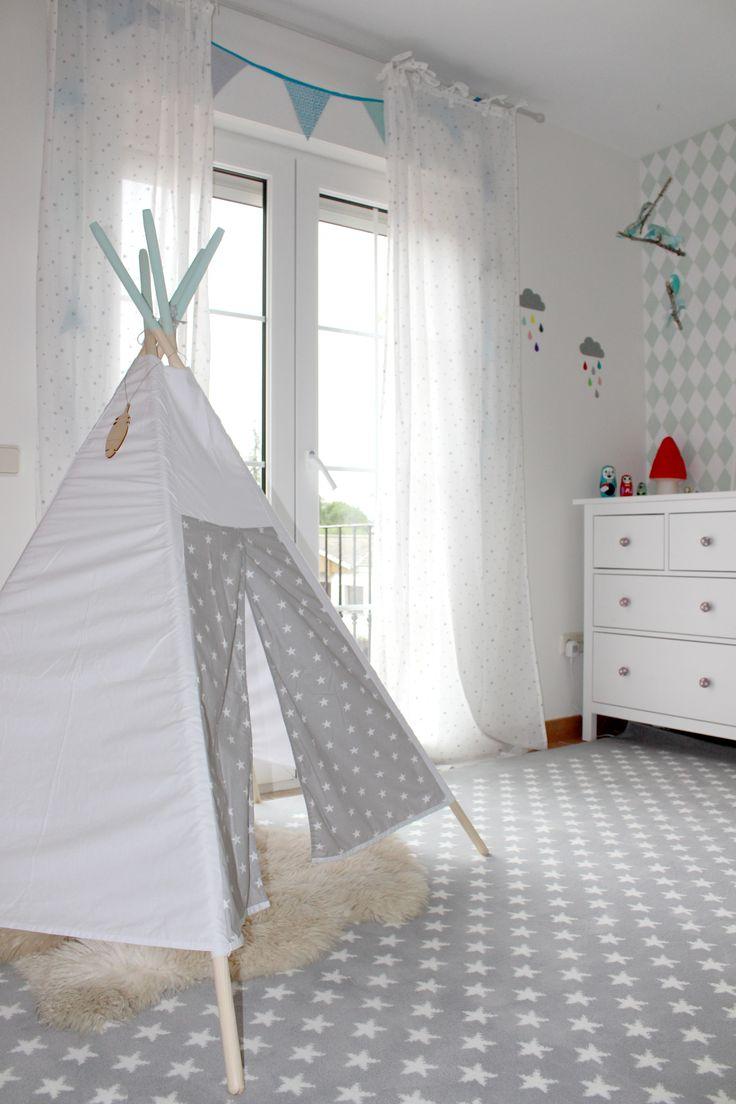 Alfombra acrílica Estrellitas Gris / Stars Grey acrylic rug