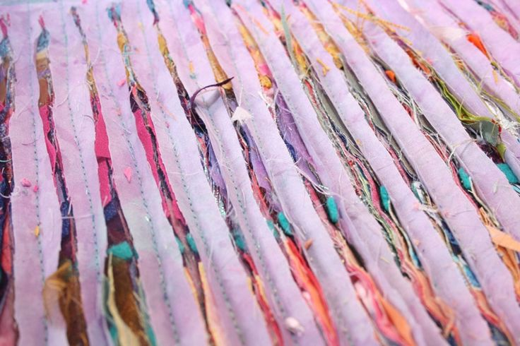 recycling fabrics by layering up and slashing from Colouricious