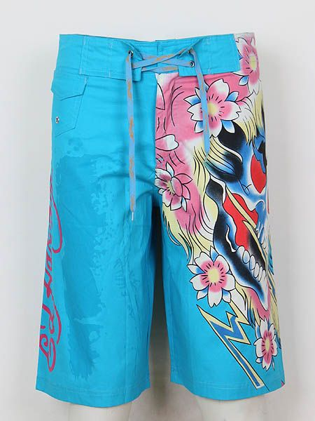 Ed Hardy Mens beach pants in 735 blue