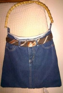 Denim skirt + men's tie + bamboo handle from discarded purse + buttons = new purse!