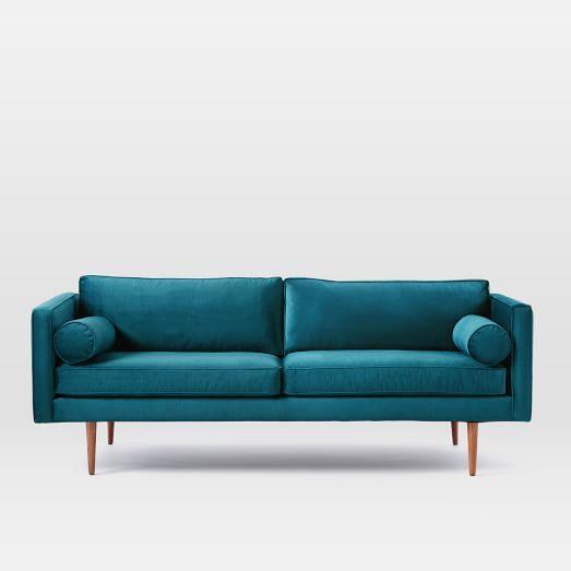 Monroe Mid Century Sofa Er Velvet Celestial Blue Four Fif Pinterest And