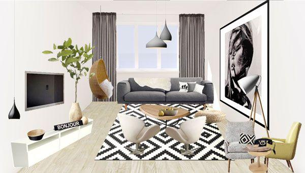 #Livingroom #renovation - 2D Vision Board  - by Oli Interior Design Studio   #modern #monochromatic #scandinavian #interiordesigner