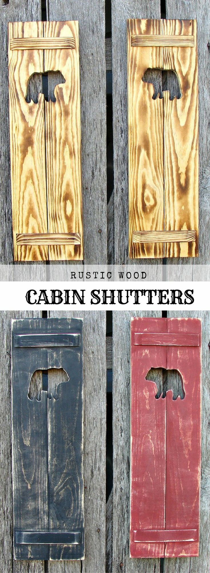 """Skillfully hand made rustic wood cabin shutters with bears.  7""""x 24"""" The perfect touch to your woodsy cabin/log home.  #Wood #Cabin #Logs #Affiliate"""