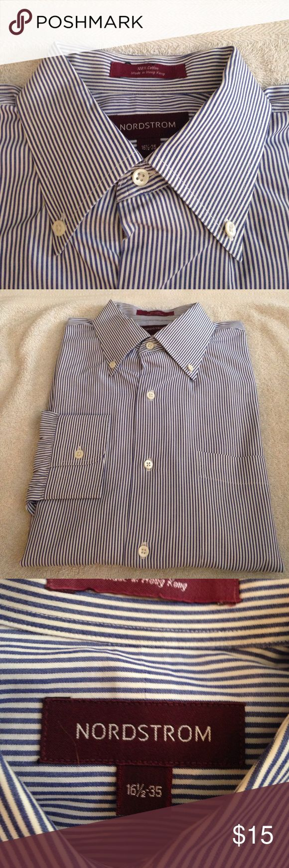 Nordstrom White & Navy Stripe Dress Shirt 16.5-35 Nordstrom White and Navy Blue Stripe Dress Shirt size 16.5-35! Great condition! Please make reasonable offers and bundle! Ask questions :) Nordstrom Shirts Dress Shirts