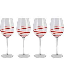 4 Piece Swirl Glass Set - Red Wine Glasses.