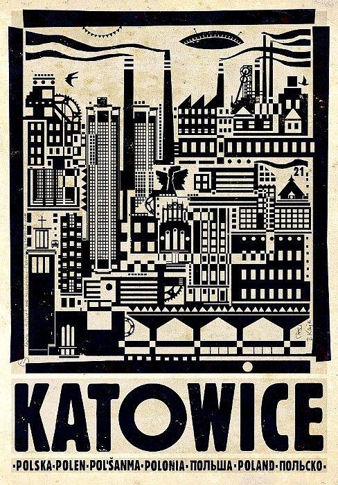 Katowice, Polish Promotion Poster by Ryszard Kaja