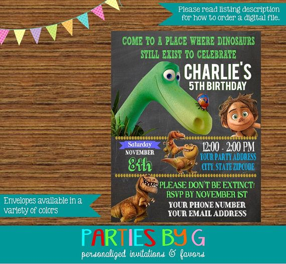ON SALE The Good Dinosaur Chalkboard Birthday Party by PartiesByG