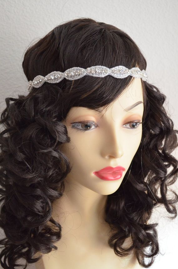 Rhinestone Beaded headpieceHeadbandflappervintage by yanethandco