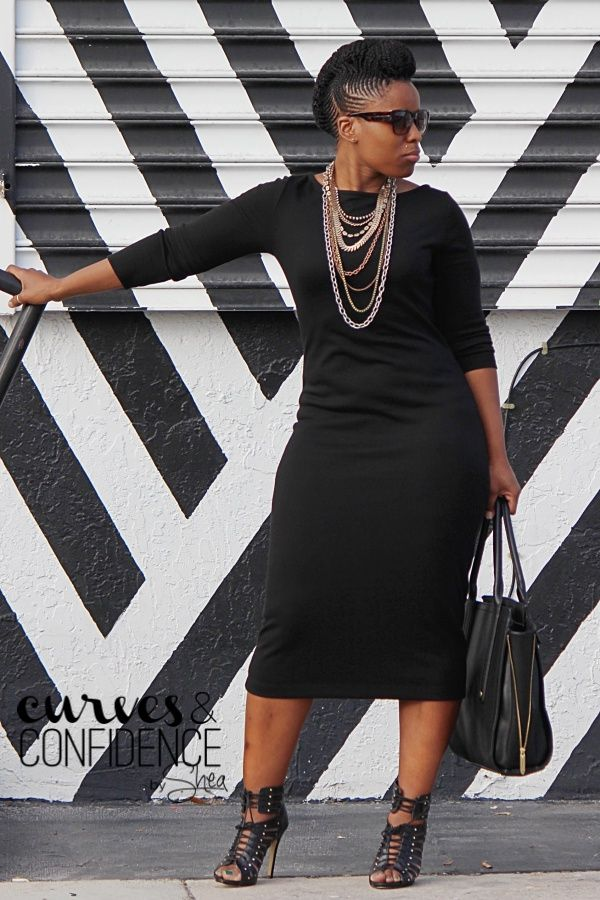 Black on Black | Fitted Black Midi Dress | Layered Necklaces | Lace up Booties