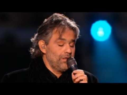 Andrea Bocelli singing Canzoni Stonate, one of the most beautiful songs, very haunting with a great harmonica background near the end.