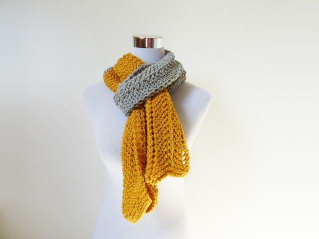 écharpe moutarde / gris en laine et alpaga, accessoire mode hiver duo de couleurs : Echarpe, foulard, cravate par dyspo-laine