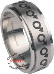 Eternal Gay Mars Symbol Stainless Steel Ring at http://overtherainbowshop.com A great design that features male mars symbols completely around the ring. The outside band is 8mm wide and finished in a polished steel finish. The inside free-spinning band is finished in a brushed stainless steel finish. The entire ring is made in 316L stainless steel, so it will never fade, tarnish or turn colors. $17.95