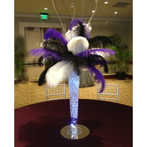 "Ostrich Feather Centerpiece with 24"" Trumpet Vase - Wholesale Event Solutions"