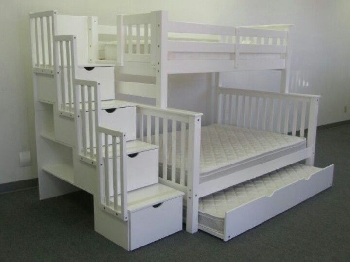 Bunk Bed Twin over Full Stairway White with Twin Trundle