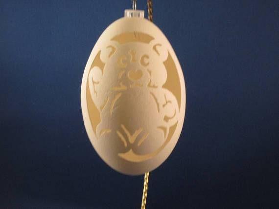 Teddy Bear Carved On A Goose Egg Shell Makes A Nice Christmas