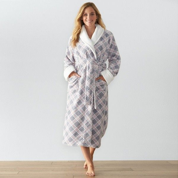 Women's SONOMA Goods for Life™ Long Plush Robe ($35) ❤ liked on Polyvore featuring intimates, robes, med grey, long dressing gowns, plaid robe, grey robe, long bath robe and wrap robe