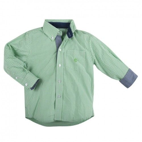 lightweight green gingham boys' shirt from new york children's clothing designers andy