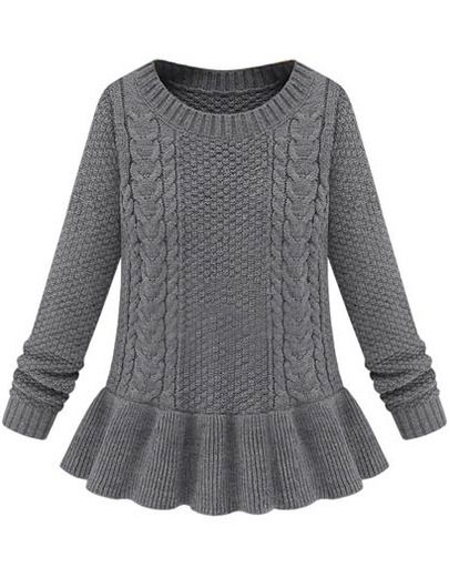Grey Long Sleeve Cable Knit Ruffle Sweater pictures £13