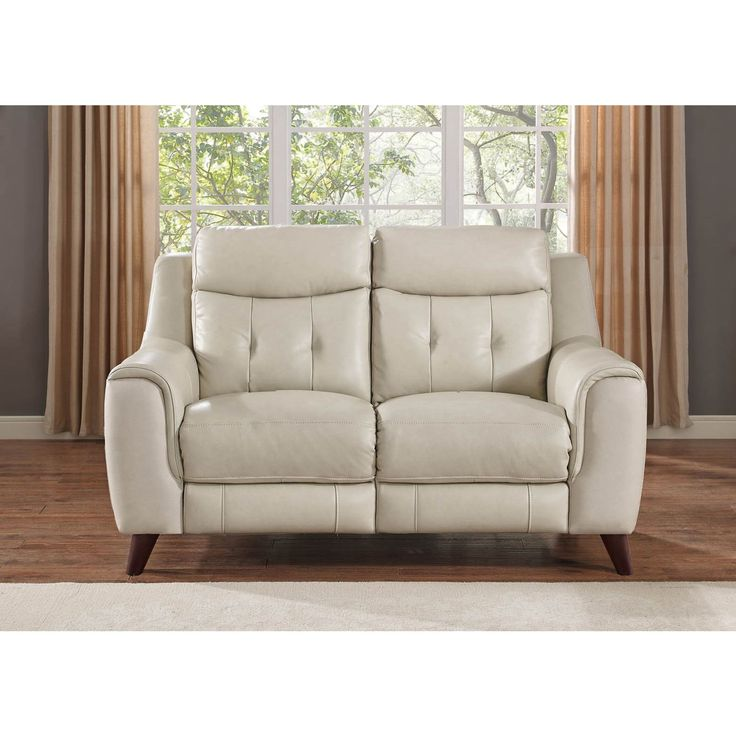 Hydeline by Amax Paramount Top Grain Cream (Ivory) Leather Power Reclining Loveseat (Color)