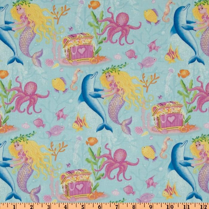 Mermaid Wishes Dancing Dolphins Blue