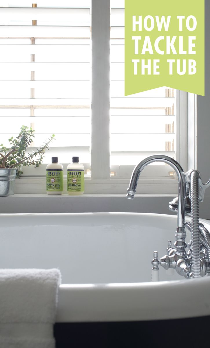 When you have to go toe to toe with bathtub soap residue, put down a mildly abrasive cleanser, like our new Lemon Verbena Baking Soda Cream Cleaner, and scour it away with a bristle brush. While you're at it, use a bit of our new Vinegar Gel No-Rinse Cleaner on your faucets and leave for about an hour. Then, buff them with a paper towel. They'll shine like new! Shop these products and more at MrsMeyers.com.