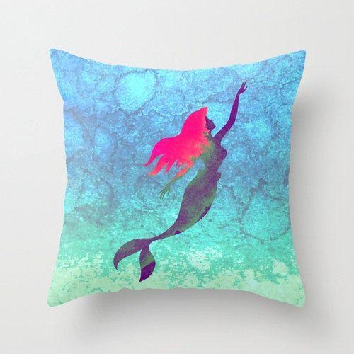 Disney s Ariel The Little Mermaid Watercolor Decorative Pillow Case