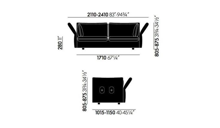 Vitra - Mariposa 2,5 Seater Sofa - line drawing