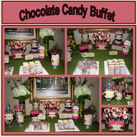 "Pink, Chocolate Candy Buffet / Bridal/Wedding Shower ""Wedding shower / Candy Buffet"" | Catch My Party"