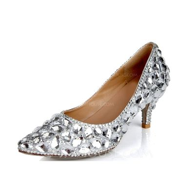 Wedding Shoes - $77.99 - Women's Real Leather Cone Heel Closed Toe Pumps With Rhinestone (047040898) http://jjshouse.com/Women-S-Real-Leather-Cone-Heel-Closed-Toe-Pumps-With-Rhinestone-047040898-g40898