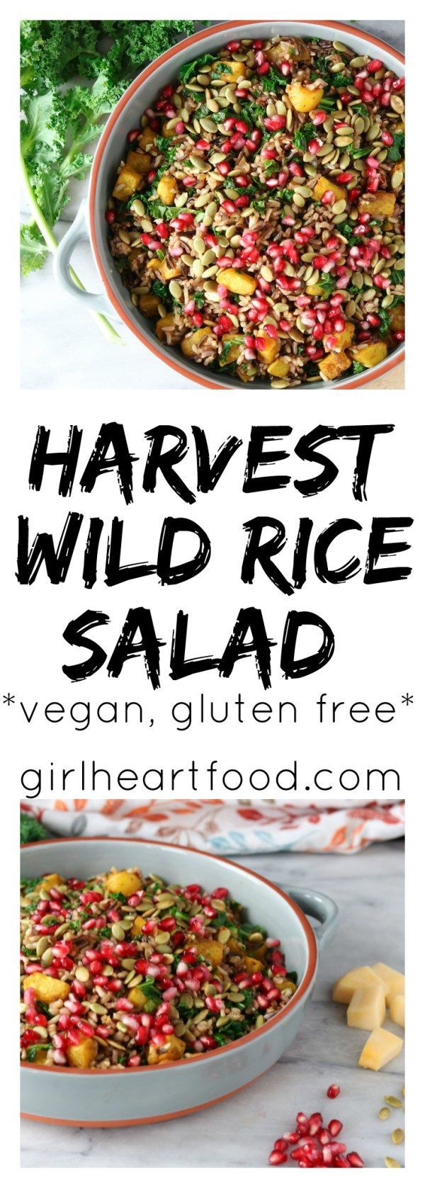 This salad is a yummy combination of a wild rice blend, saut�ed kale and roasted acorn squash. The whole thing is then garnished with sweet pomegranate aerials and pumpkin seeds. #vegan #glutenfree #harvestsalad