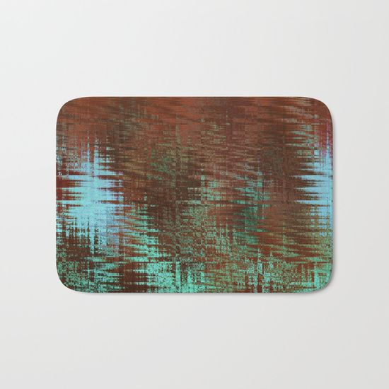 Southwestern themed abstract art bath mat in earthy terra cotta and turquoise tones.#society6