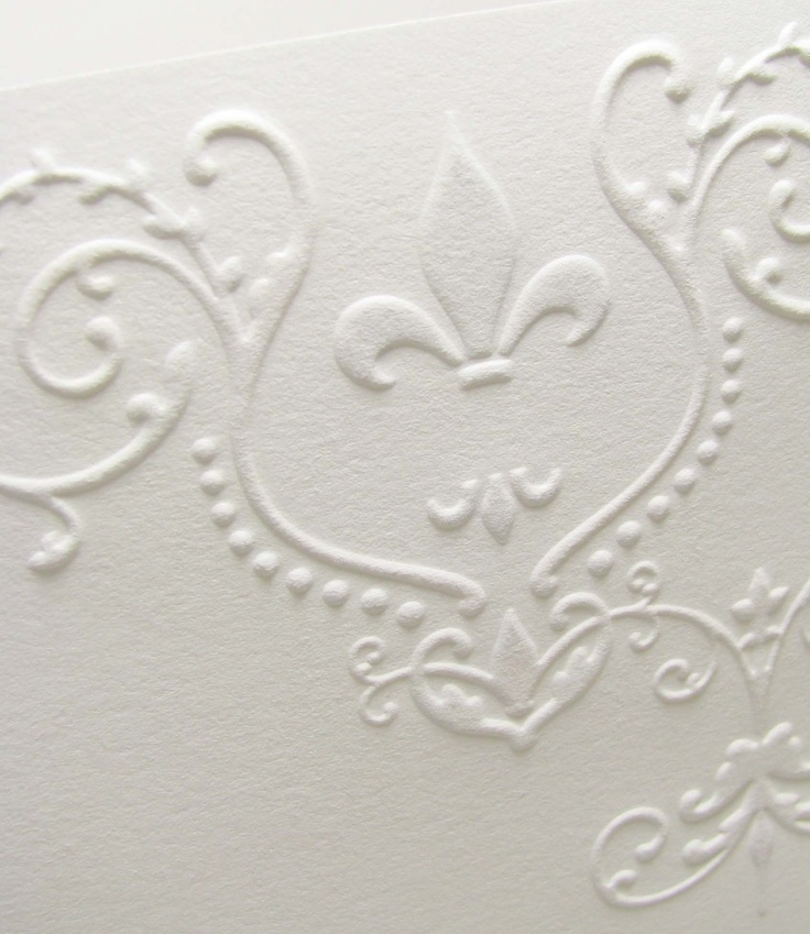 Beautiful Fleur De Lis Pressed Wedding Invitation