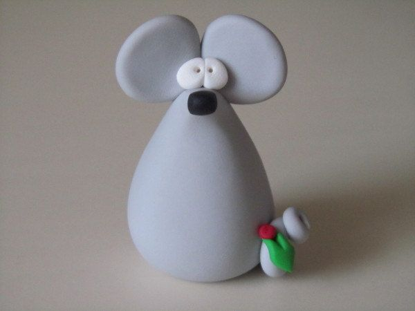 Whimsical Polymer Clay Christmas Mouse by ClayPeeps on Etsy. $5.00, via Etsy.