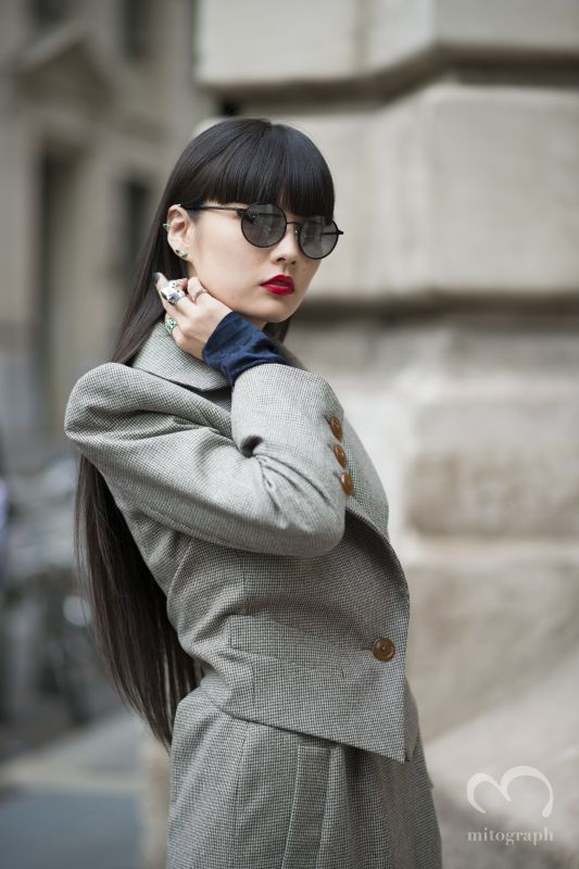 Model Kozue Akimoto before Vivien Westwood show during Paris Fashion Week 2014 Spring Summer PFW