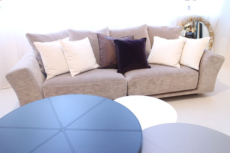 Galliano Sofa made in Italy by Marac. DJ nest of coffee tables made in Italy by MIDJ. Available at Sarsfield Brooke.