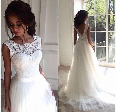 Weiß Elfenbein A-Linie Spitze Brautkleider Hochzeitskleid Ballkleid Gr:34 36 38+