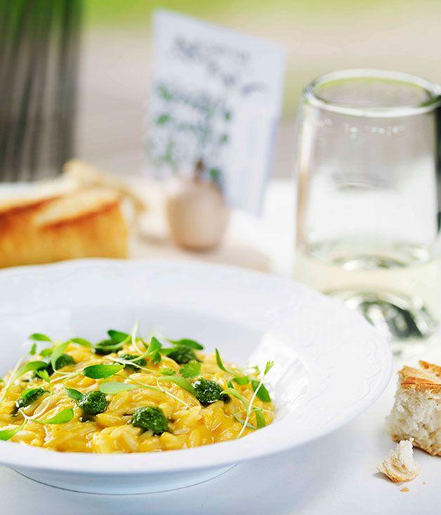 Australian Gourmet Traveller recipe for pumpkin risoni by Shannon Bennett.