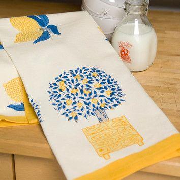 Couleur Nature Lemon Tree Blue Yellow Tea Towel (Set of 3) $43.13