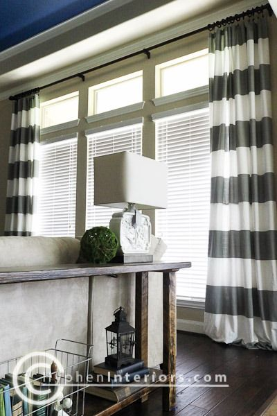 Customized long window curtains for large windows on the cheap - 2 sets of shower curtains sewn together!