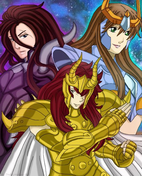 Hello everybody, I have a new Saint Seiya Picture with my Ocs.  You can see my Ocs Garuda Setho, a Specter of Hades and the Saint Phoenix Yliana. At the foreground you can see my Oc Gold Sain...