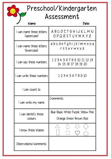 Best  Preschool Assessment Forms Ideas On   Preschool